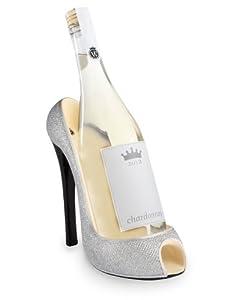 New! Adorable High Heel Wine Bottle Holder-Silver Glitter
