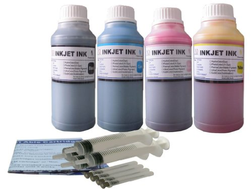 Bulk Ink Refill 4 Color Set 250ml Each for HP Printer Cartridges