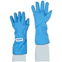 "National Safety Apparel G99CRBEMALGR Nylon Taslan and PTFE Mid-Arm Standard Water Resistant Safety Glove, Cryogenic, 14"" - 15"" Length, Large, Blue"