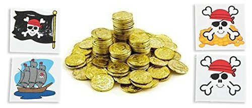 Plastic Gold Coins 288ct With 24 Pirate Themed tatoos - 1