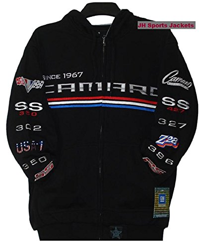 Chevy Camaro Embroidered Hoodie Cotton Black Size 3XLARGE (Chevy Camaro Womens Apparel compare prices)