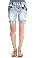 WallFlower Juniors Luscious Curvy Frayed Bermuda Shorts