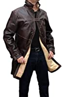 WD Leather Trench Coat - Mens Brown Distressed Jacket