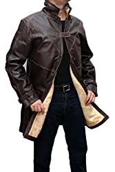 WD Mens Leather Trench Coat - Brown Distressed Jacket