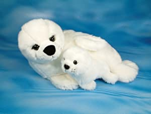 Amazon Com Seal With Seal Pup Soft Toy 32cm Toys Amp Games