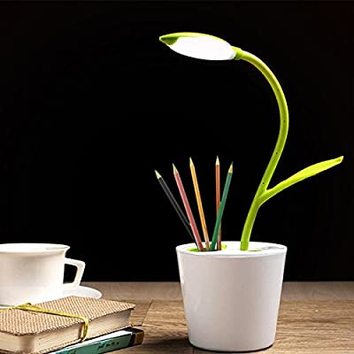 SeedHome LED Desk Lamp,Flexible USB Touch LED 3-Level Dimmer Table Lamps with Decor Plant Pencil Holder Reading Light For Kids BedRoom,Student Green