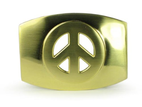 Plain Oval Peace Sign Belt Buckle Color: Gold