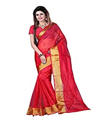 KRIZEL Red Art Silk Saree With Blouse
