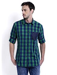 Sting Green Check Slim Fit Full Sleeve Cotton Casual Shirt For Men