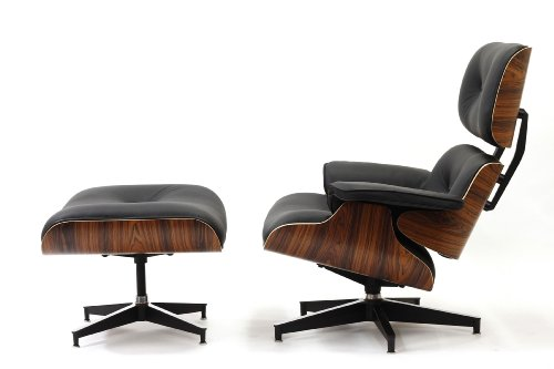 Modern Classic Plywood Lounge Chair & Ottoman with Palisander Base & Black Leather Uphostery