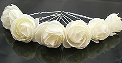 """ZIJING 10 pcs 1.18"""" Ivory White Fashion Hair Small Flower Clip Bridal Girl Women For Wedding Prom Party"""