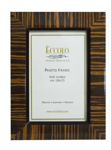 Eccolo World Traveler Burl Wood Frame, Zebra Wenge, Holds a 4 x 6-Inch Photo