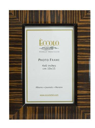 Eccolo World Traveler Burl Wood Frame, Zebra Wenge, Holds a 4 x 6-Inch Photo