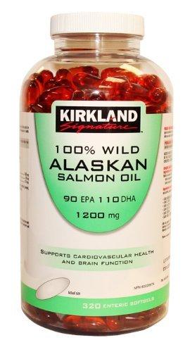 Kirkland Signature 100% Wild Alaskan Salmon Oil 90 EPA 110 DHA 1200mg - 320 Enteric Coated Softgels (Kirkland Omega 3 1200mg compare prices)