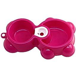 Binmer(TM)Hot Pet Dog Bowl Dish Water Food Feeder Fountain Bear Double Bowl Doggy Puppy Dog Cat Bowl (Hot Pink)