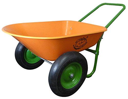 Dual-Wheel Residential Yard Rover Wheelbarrow - Pumpkin - 5 Cubic Foot Poly Tray with Flat Free Tires (Wheelbarrow Dual Wheel compare prices)