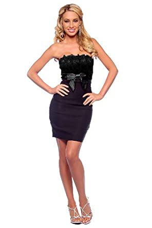 Tube Fitted Lace Strapless Evening Cocktail Prom Party Dress with Bow (Medium, Black)