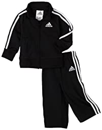 adidas Baby Boys\' Iconic Tricot Jacket and Pant Set, Black/White, 12 Months