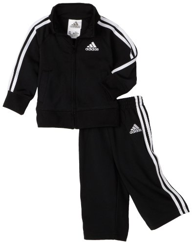 adidas Baby Boys Iconic Tricot Jacket and Pant Set, Black/White, 9 Months