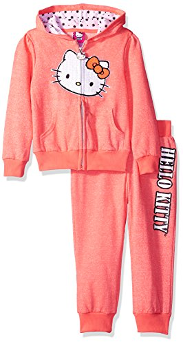 Hello Kitty Girls' Big Girls' French Terry Active Set, Neon Heather Coral, 10