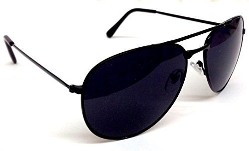 Black Pilot Aviator Sunglasses Dark Lenses