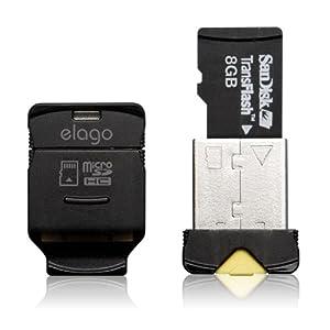 elago Mobile Nano II USB 2.0 microSDHC Flash Memory Card Reader -Works up to 32GB- (Black) by elago