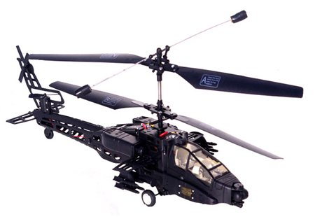 Electric 3CH Super Stable Apache RTF Remote Control RC Helicopter (Color May Vary)