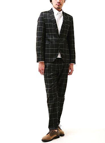 ブラック L (ベストマート)BestMart ウインドペン チェック スーツ 上下 セット 2B テーラードジャケット パンツ スリム 2つボタン 608710-006-001