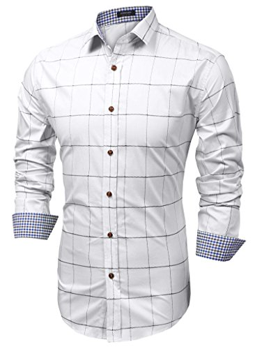 Coofandy Men's Fashion Long Sleeve Plaid Button Down Casual Shirts White Medium