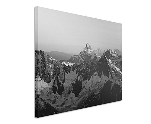 50x70cm Leinwandbild schwarz weiß in Topqualität Landschaft Berge malerische Alp