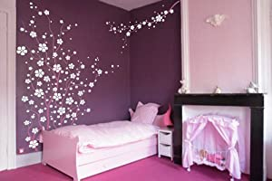 Large Wall Tree Nursery Decal Japanese Magnolia Cherry Blossom Flowers Branch #1121 (6 Feet Tall) from Innovative Stencils