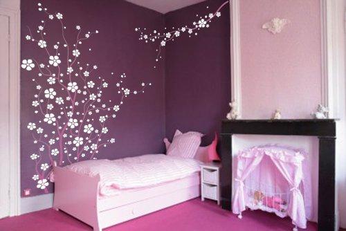 Large Wall Tree Nursery Decal Japanese Magnolia Cherry Blossom Flowers Branch #1121 (6 Feet Tall)