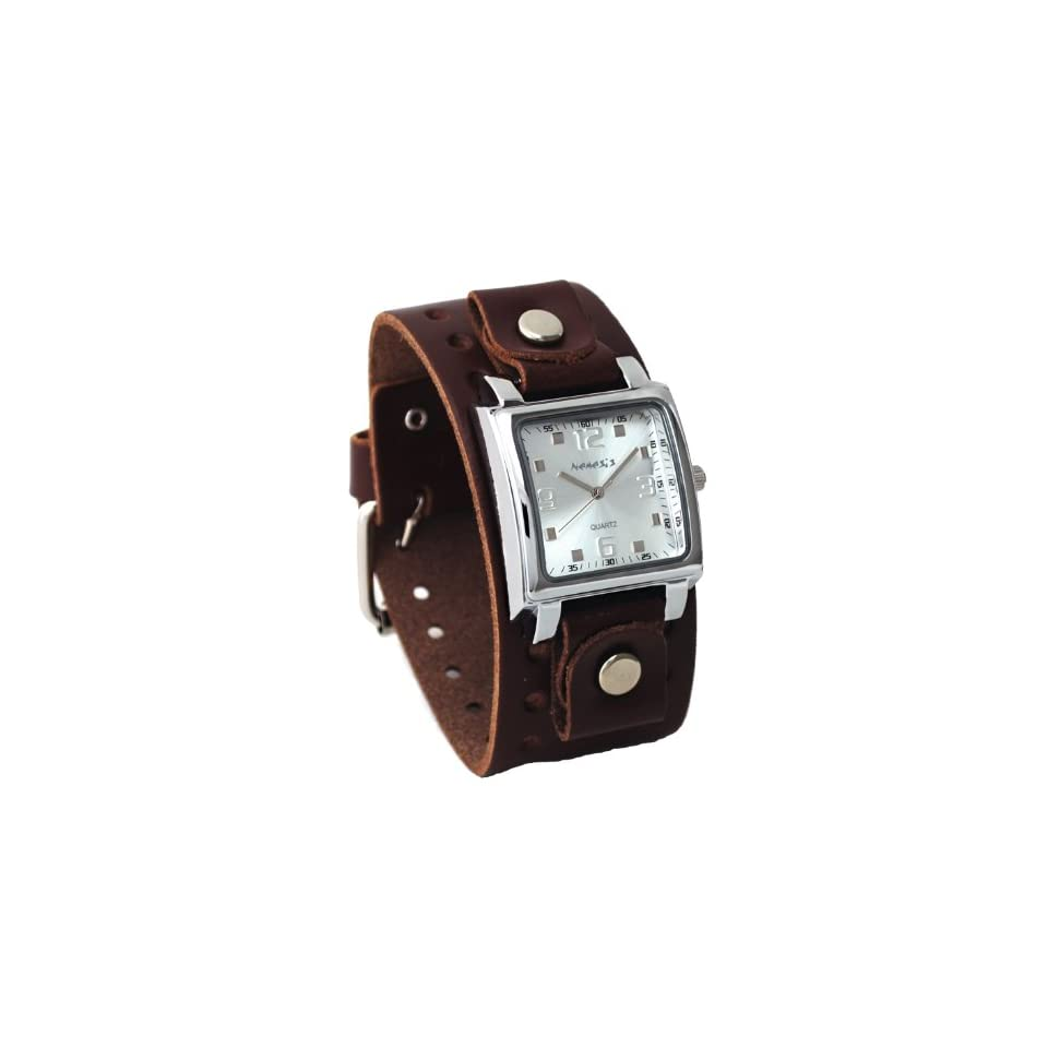 Nemesis #BBB516S Mens Dark Brown Wide Leather Cuff Band Analog Silver Dial Watch