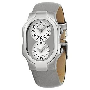 Philip Stein Signature Small Dual Time Stainless Steel Platinum Silk Ladies Watch 1-G-FW-IPL