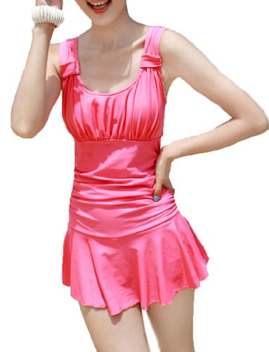 Women's Halter Shaping Body One-Piece Swimsuit lovely Swimwear(Pink,X-Large) image