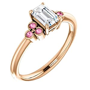 18K Rose Gold Emerald Cut Diamond and Pink Sapphire Engagement Ring