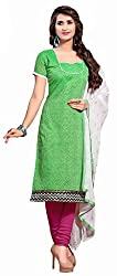 Khoobee Presents Chanderi Dress Material(Green,Rani)