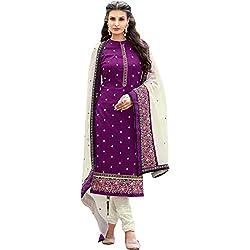 pakiza design new purple cotton party wear salwar suit dress material for women