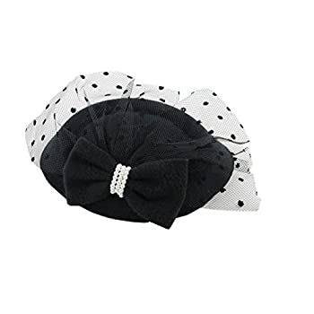 Women's Fascinators Hat Pillbox Hat Cocktail Party Hat with Veil Hair Clip