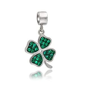 Bling Jewelry Green Crystal Shamrock 4 Leaf Clover Dangle Bead Charm Fits Pandora