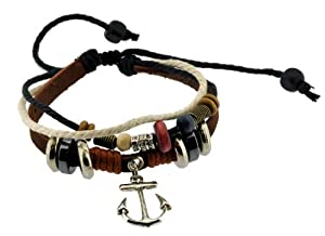 Retro Anchor Zen Bracelet / Leather Bracelet / Leather Wristband / Surf Bracelet Adjustable Size, for Men, Women, Boys and Girls, Teens, #324