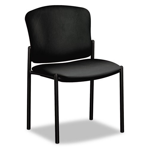 HON Products - HON - Pagoda 4070 Series Stacking Chairs, Black Vinyl, 2/Carton - Sold As 1 Carton - Upholstered seat cushions for enhanced comfort. - Stylish fan-style back. - Durable steel frame provides strength and stability.