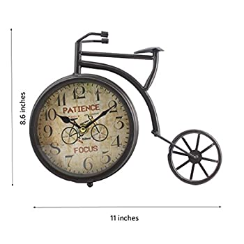 "Handcrafted Bike/Bicycle Analog Desk Clock,11""x8.6"",vintage Rustic Look (Black)"