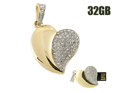 Comple 32Gb Crystal Heart Usb Flash Drive (Golden) front-232358