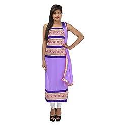 Kashish Creations Women Resham Purple Semi Stitched Salwar Suit