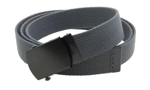 "Canvas Web Belt Military Style with Black Buckle and Tip 56"" Long Many Colors (Charcoal)"