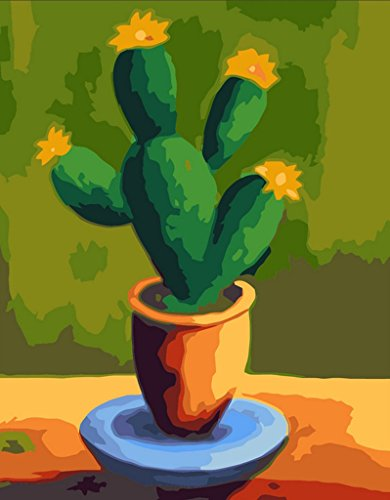 [ New Release, Wooden Framed or Not ] Diy Oil Painting by Numbers, Paint by Number Kits - Cactus 16*20 inches - PBN Kit for Adults Girls Kids White Christmas Decor Decorations Gifts (Paint By Number Cactus compare prices)
