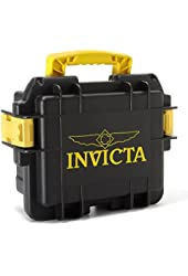 Invicta DC3BLK/YEL Collectors 3 Slot Divers Case, Black/ Yellow