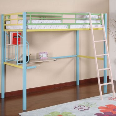 Sunday Funnies Twin Size Metal Loft Bunk Bed By Powell Furniture