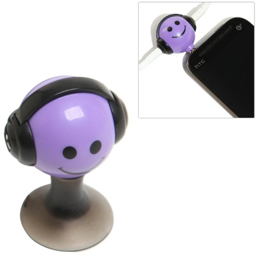 Purple Smiley Face Design 3.5Mm Headphone 2-Way Splitter Adapter And Suction Cup Stand For Portable Media Players / Smart Phones